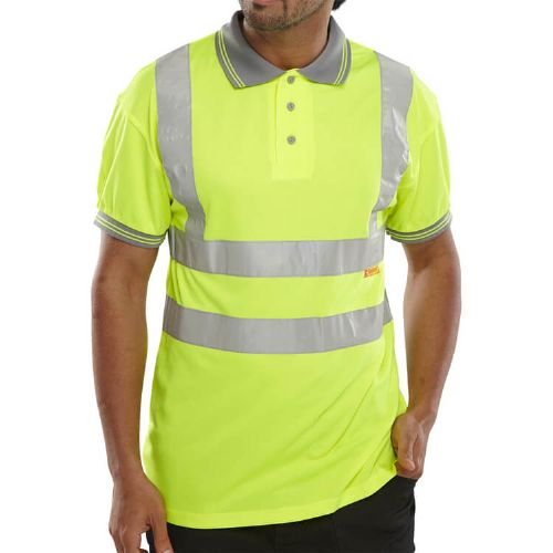 BSeen Hi Vis Yellow Polo Shirt